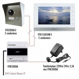 SCHEMA VTO2000A-VTH1550CH KIT PORTIER VIDÉO IP DAHUA