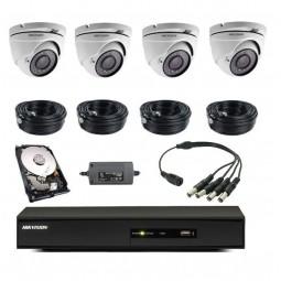 Pack vidéoprotection complet 4 caméras dôme + enregistreur + disque dur + tous les câbles alim et vidéo