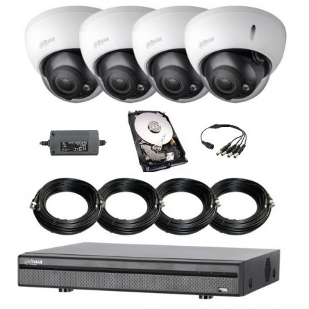 Pack vidéoprotection complet 4 caméras dôme anti-vandalisme 1080P + enregistreur + disque dur + tous les câbles alim et vidéo