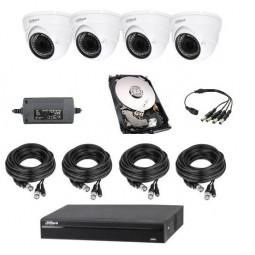 Pack vidéoprotection 4 cameras dôme varifocale 720p + enregistreur + disque 1 to