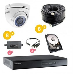 Kit vidéoprotection complet 8 caméras dôme