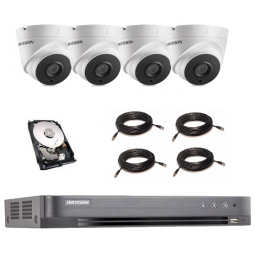 KIT COMPLET HIKVISION 4 CAMERAS DOME POC (gestion automatique de l'alimentation électrique de la camera)