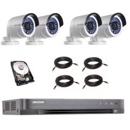 KIT COMPLET HIKVISION 4 CAMERAS BULLET POC (gestion automatique de l'alimentation électrique de la camera)